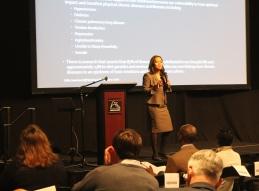 Keynote speaker Bethany Johnson-Javois of Integrated Health Network addresses audience